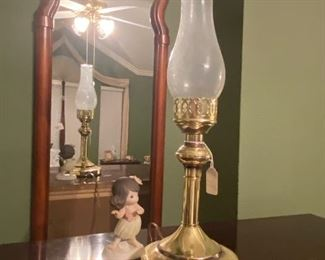 3 foot accent mirror, precious moments and antique lamp