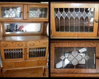 Antique oak cabinet with leaded glass