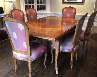 BAKER FRENCH COUNTRY DINING SET WITH 8 CHAIRS, 4 LEAVES AND ALL PADS!