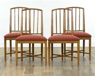 Set 4 Mid Century Modern Walnut Dining Chairs