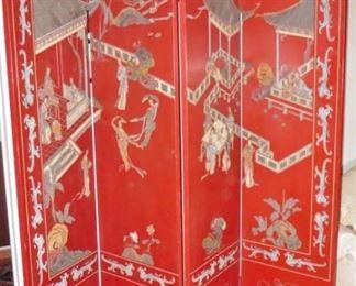 Red lacquer coromandel 4-panel screen