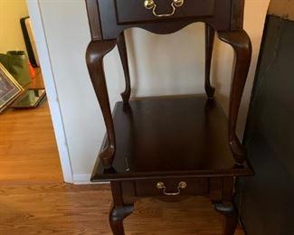 #1(2) cherry Queen Anne leg end table w 1 drawers 21x26x24 $75 each