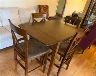 #3Tall Dropside Bar Height Table w/4 chairs - Dark Solid Wood   30-48x30x36 $225.00