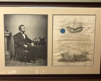 Military appointment signed by Abraham Lincoln, and Secretary of War Simon Cameron, who served as Secretary until January of 1862. Document is complete with engravings, a teal blue seal, and accoutrements. The appointment is of Julius W. Mason as Second Lieutenant in the Second Regiment of Cavalry; 1861. Julius Wilmot Mason was a recognized Civil War Union Army Officer who rose to Major in the Regular Army followng the war. Measurements Frame: 41.5 x 28 inches Document: 18.5 x 15.5 inches