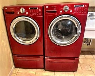 LG Electronics Inc. Washer and Dryer SteamDryer  Gas Dryer Model Number- DLGX7188RM Front Load SteamWasher with Allergiene Cycle Model Number- WM2487HRMA