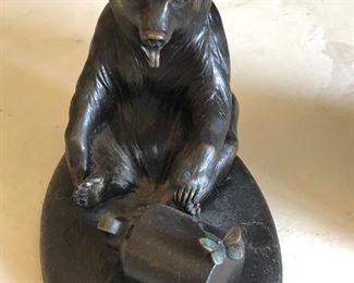 Bear with Honey Pot Paul Rossi bronze