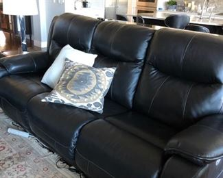 leather reclining sofa with phone charger