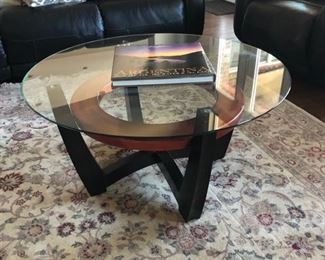 glass coffee table with base