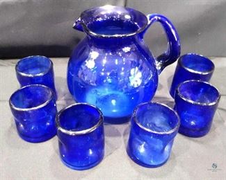 Cobalt Blue pitcher and glasses