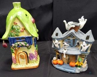 2 ceramic houses (use with votive candles)
