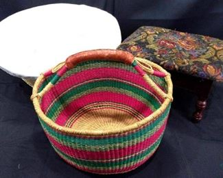 2 baskets and foot stool
