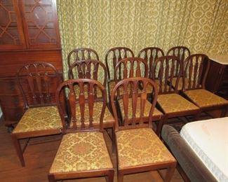 11 antique walnut chairs