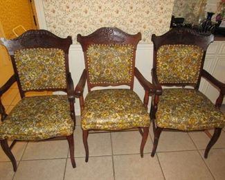 Antique oak arm chairs