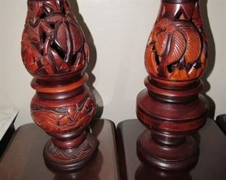 Pair of carved wood lamps