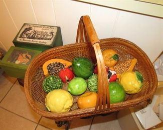 Basket of ceramic fruit