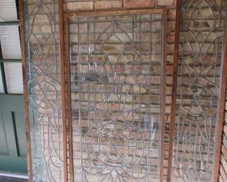 Heavy leaded beveled glass panels