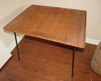 Mid Century wicker/wrought iron table