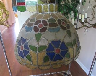 Heavy leaded stained glass hanging fixture