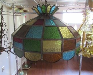 Nice vintage stained glass hanging fixture