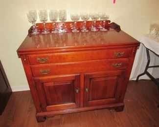 Solid walnut server/bar with flip down top