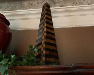 Stone obelisk, lots of silk greenery