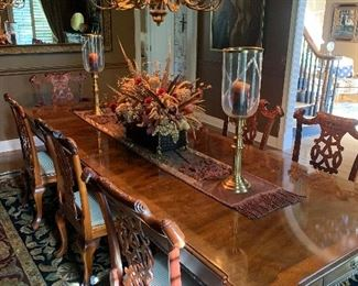 """Beautiful Dining Room! Henredon Table with leaves, """"carved legs."""" Has silver drawers in both ends."""