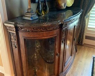 Spectacular marble topped buffet from Sprintz, curved glass side doors, drawers inside.