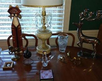 Living Room:  Deer, (Candle Holder), Wood Cat, Glass Vases, Brass Deer