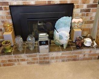 Living Room:  Oil Lamp, Glass Vases, Panasonic, Fish