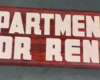 Vintage Apartment for Rent Sign