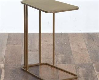Crate & Barrel Art Deco Brass Finish End Table