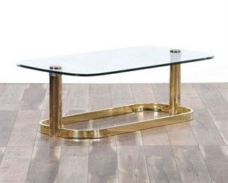 Hollywood Regency Brass Frame Coffee Table W Glass Top