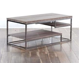 Contemporary Rustic Coffee Table W Chrome Frame
