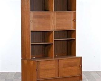 Mid Century Danish Modern Bookcase Hutch Cabinet