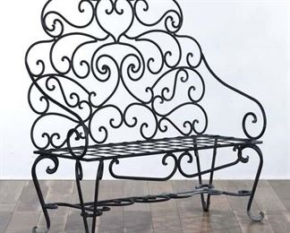 Victorian Style Scrolled Iron Patio Bench