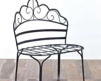 Scrolled Metal Scallop Back Patio Bench