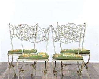 Set 4 Vintage 1970'S White Metal Patio Chairs