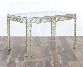 Vintage Regency Scrolled Iron Patio Table W Glass Top