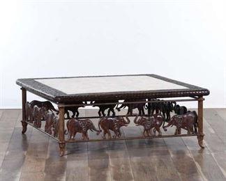 British Colonial Cast Metal Elephant Motif Coffee Table