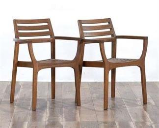 Pair Outdoor Interior Contemporary Teak Patio Chairs
