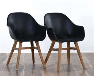 Pair Mid Century Style Hardshell Armchairs