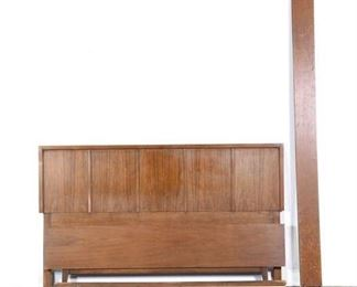 Mid Century Modern Walnut Finish Bed Frame, Full