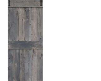 Coal Grey 3'X7' Paneled Wood Finish Barnwood Barn Door