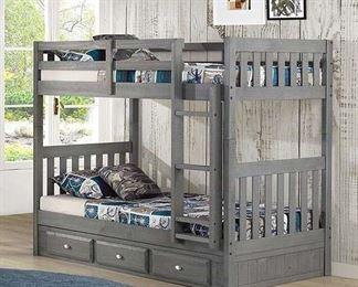 Partial Charcoal Bunk Bed - Rails And Ladder Only