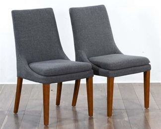 Pair Contemporary Gray Dining Chairs 2