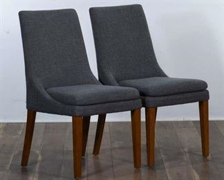Pair Contemporary Gray Dining Chairs