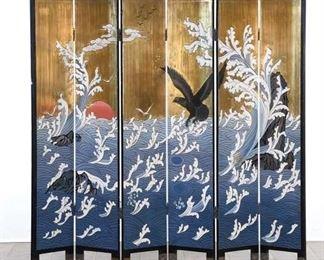Japanese Room Divider Ocean & Crane Scenes