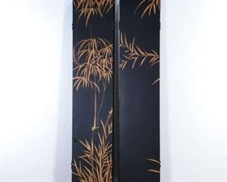 Large Black & Gold Chinoiserie Room Divider Screen