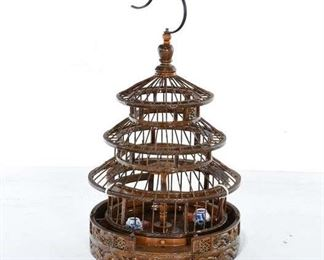 Carved Asian Bird Cage