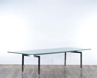 Modernist Fogged Glass Dining Table W Chrome Base